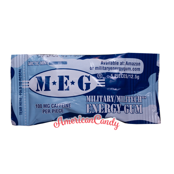 Military Stay Alert Caffeine Chewing Gum Arctic Mint