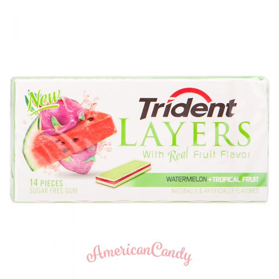 Trident Layers Watermelon + Tropical Fruit 14er