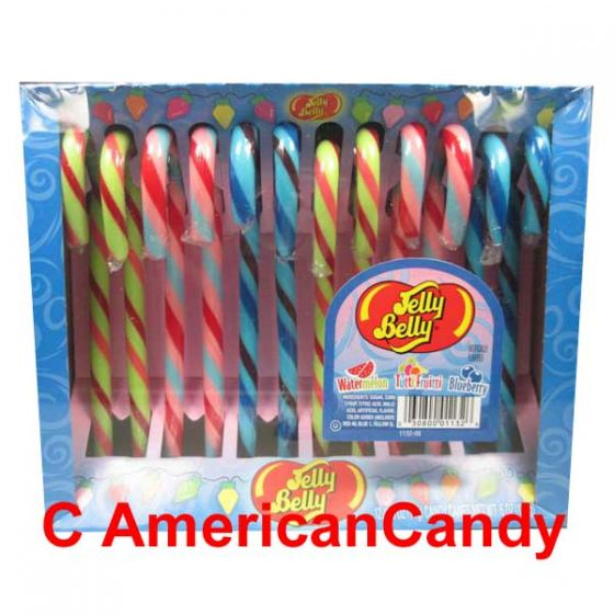 Jelly Belly Candy Canes Watermelon, Tutti Frutti & Blueberry